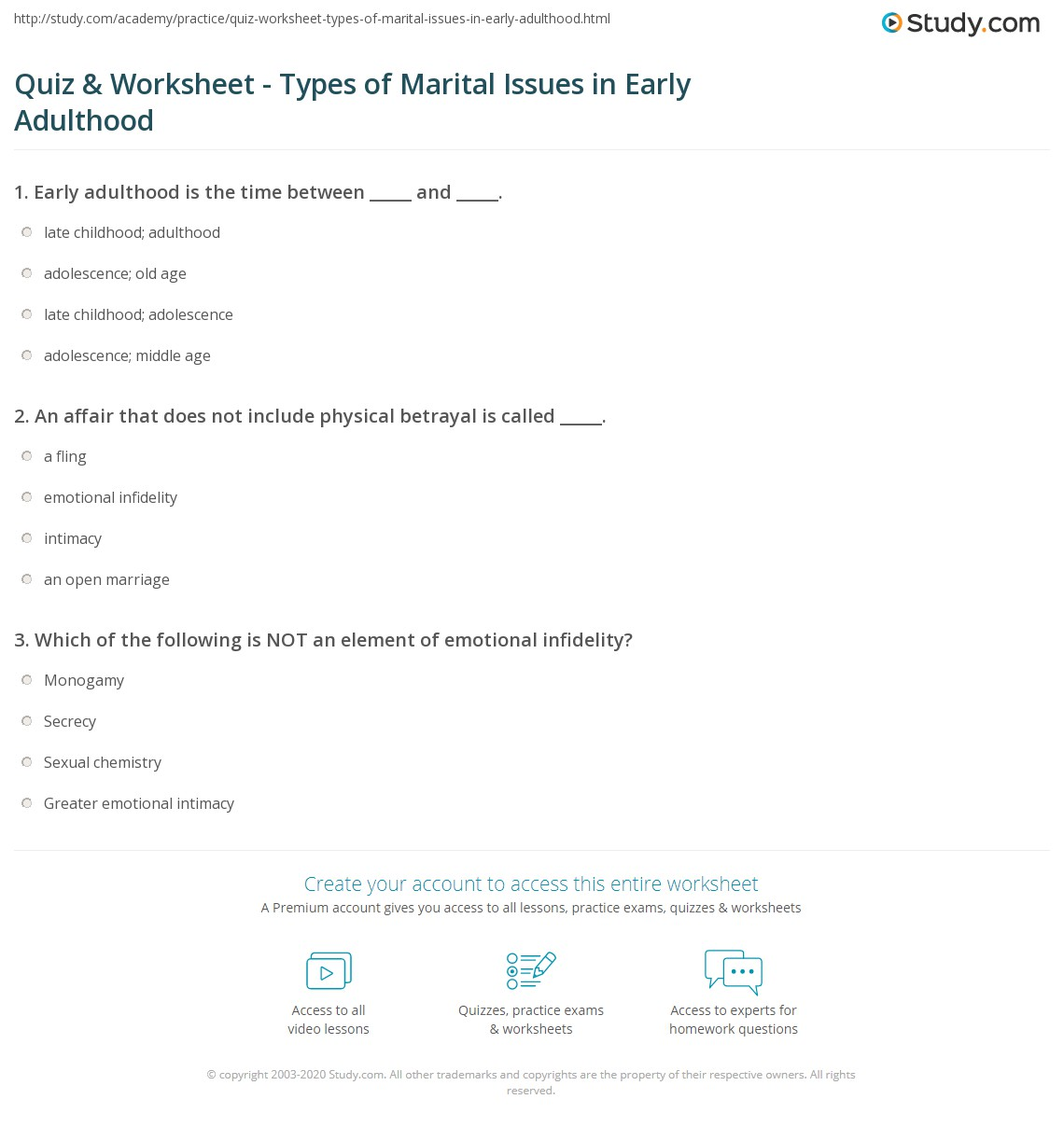 Quiz & Worksheet - Types of Marital Issues in Early Adulthood