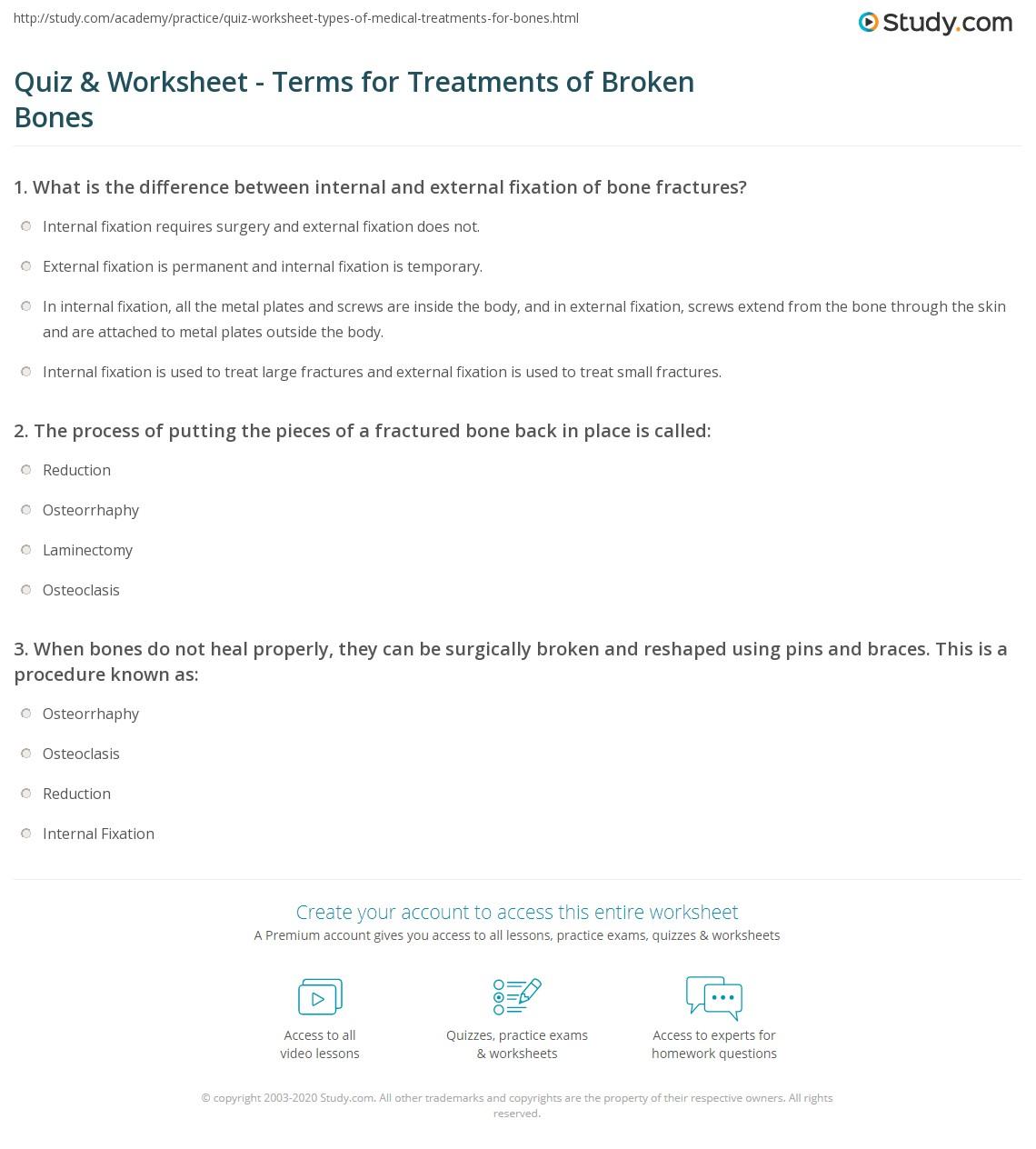 Quiz Worksheet Terms For Treatments Of Broken Bones Study