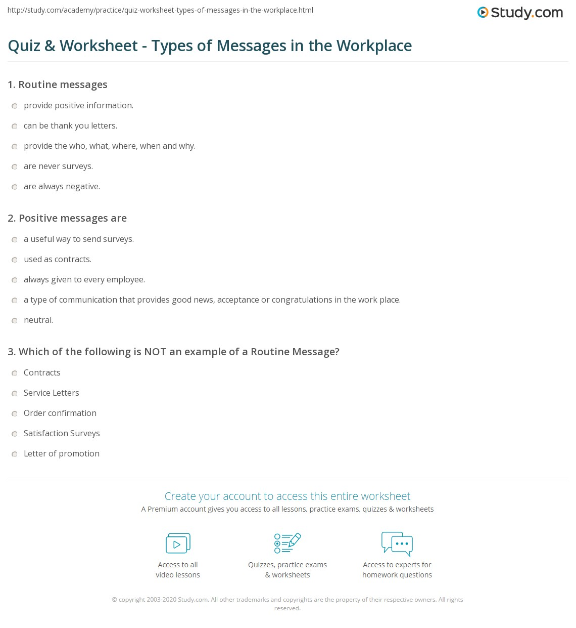 Quiz & Worksheet - Types of Messages in the Workplace | Study.com