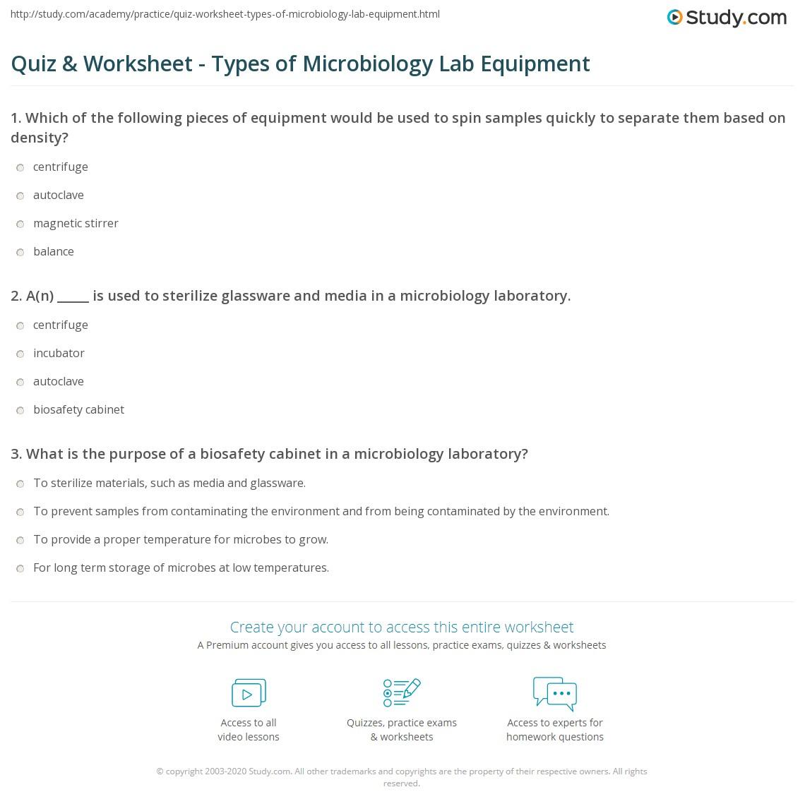 Worksheets Biology Lab Equipment Worksheet quiz worksheet types of microbiology lab equipment study com print common laboratory worksheet