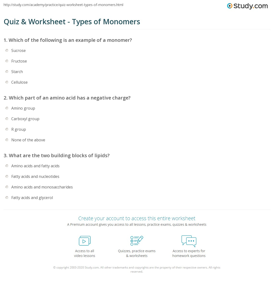 Quiz Worksheet Types Of Monomers Study