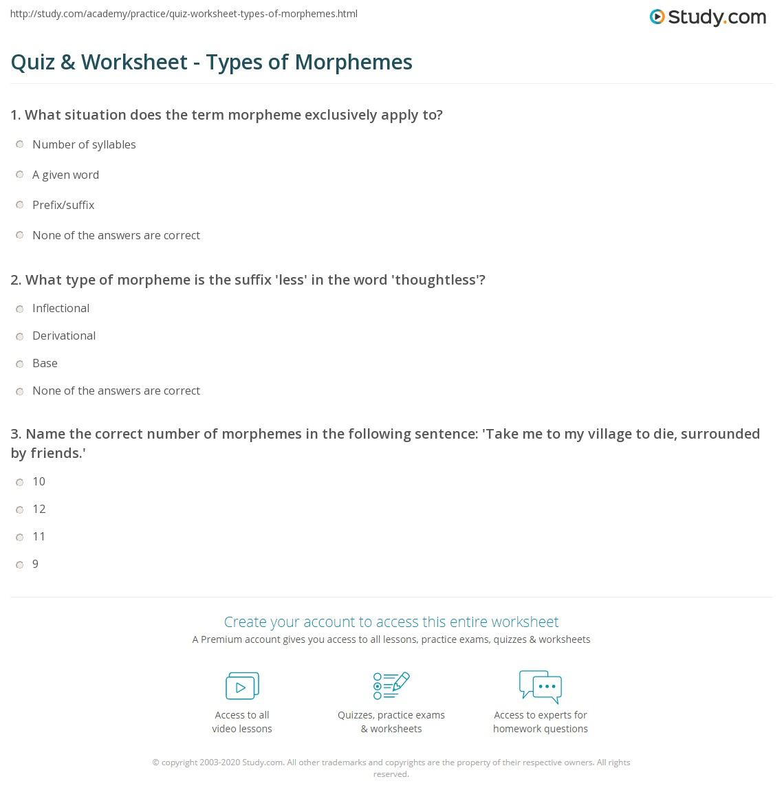 Quiz Worksheet Types Of Morphemes Study