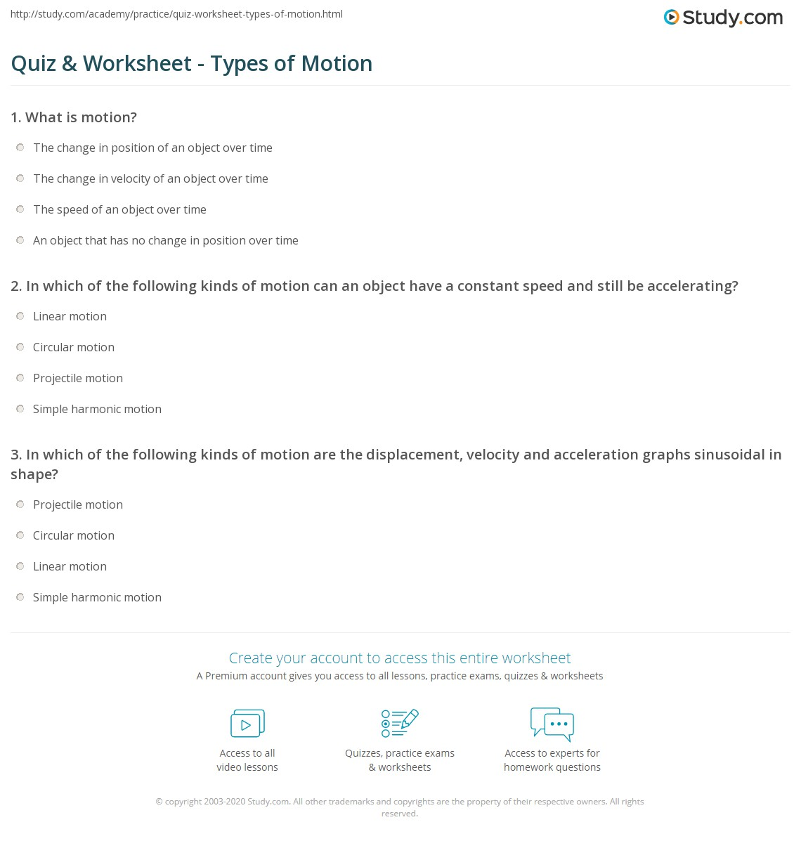 Quiz & Worksheet - Types of Motion | Study com