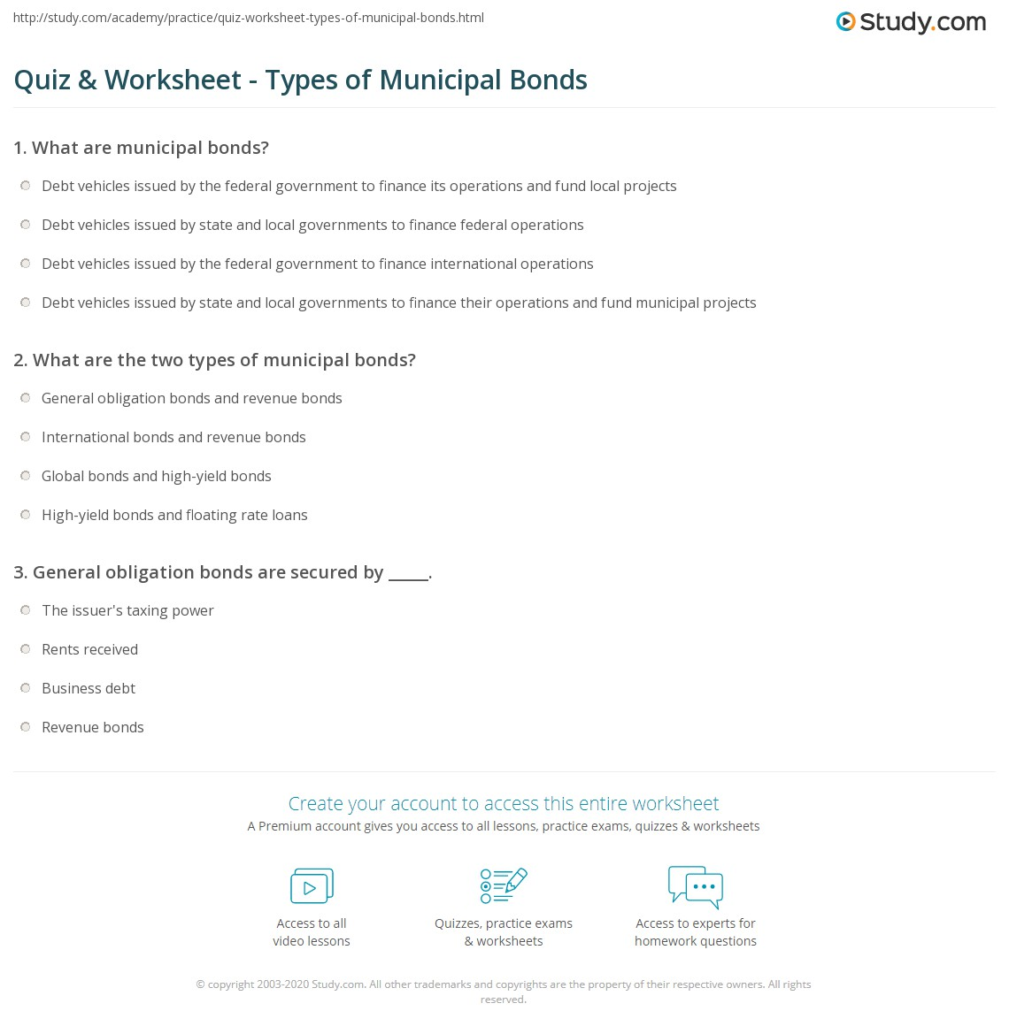 quiz & worksheet - types of municipal bonds | study