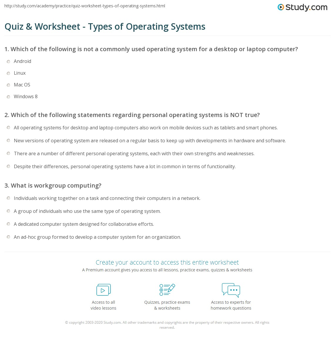 worksheet Prufrock Analysis Worksheet Answers quiz worksheet types of operating systems study com print enterprise workgroup personal worksheet
