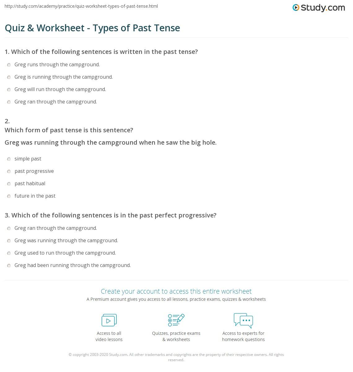 Worksheets Past Tense Worksheets quiz worksheet types of past tense study com print worksheet