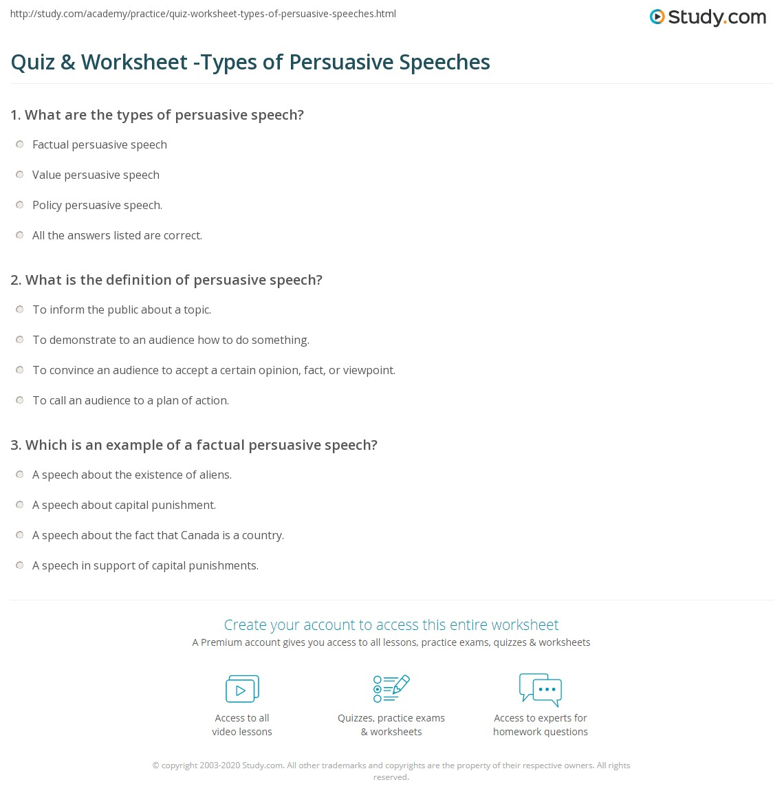 Print What Are The Three Types Of Persuasive Speeches? Worksheet