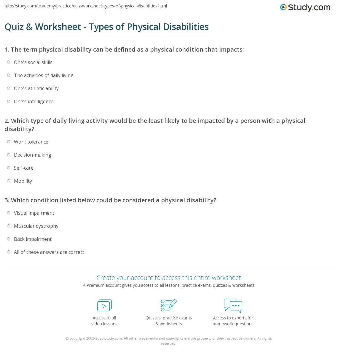 quiz worksheet types of physical disabilities com print what is a physical disability definition types worksheet