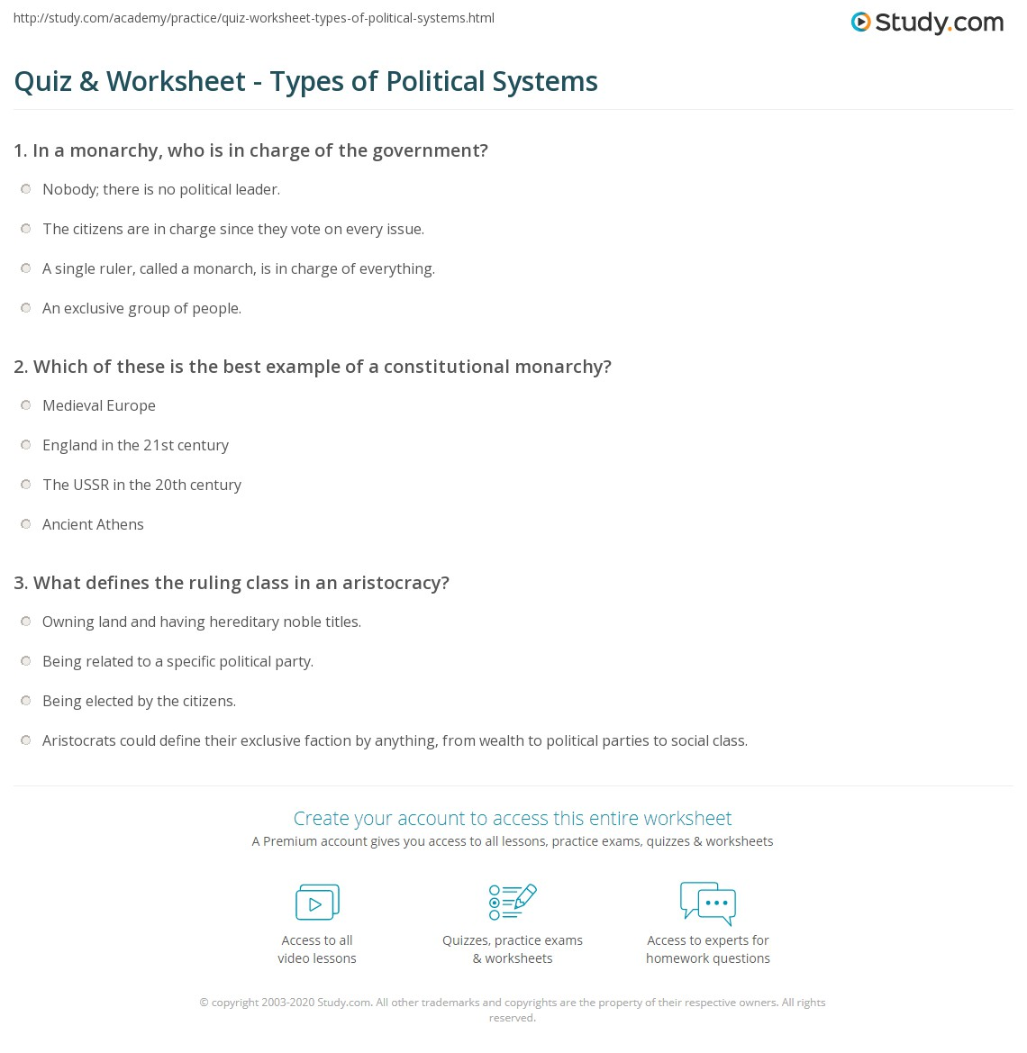 what is the definition of political system