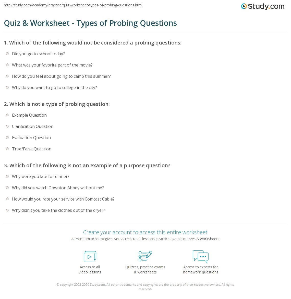 Probing questions for dating