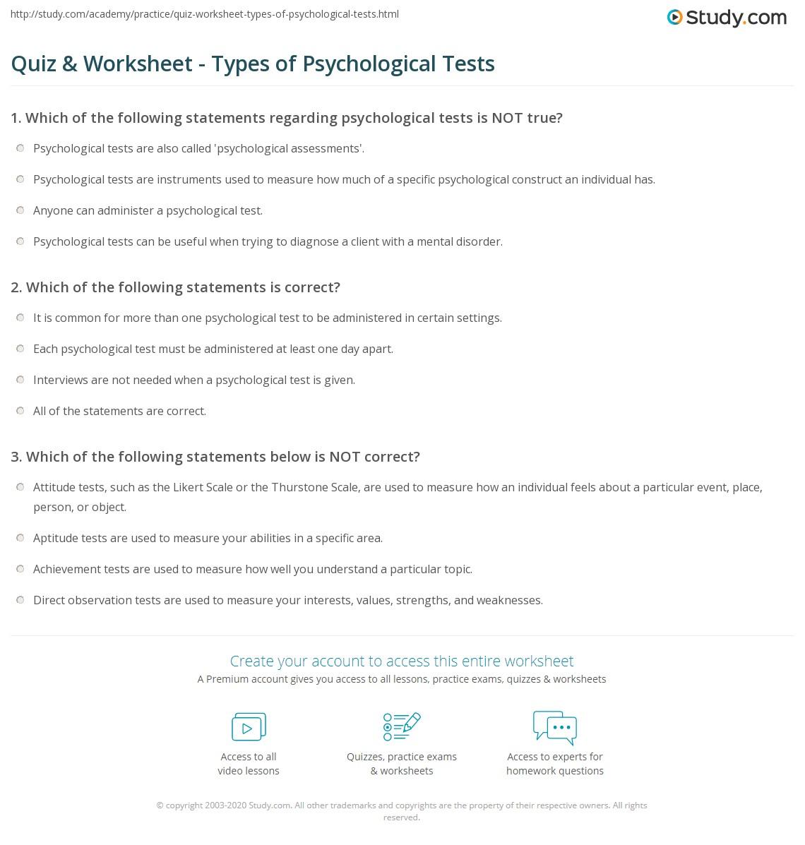 Quiz & Worksheet - Types of Psychological Tests   Study com