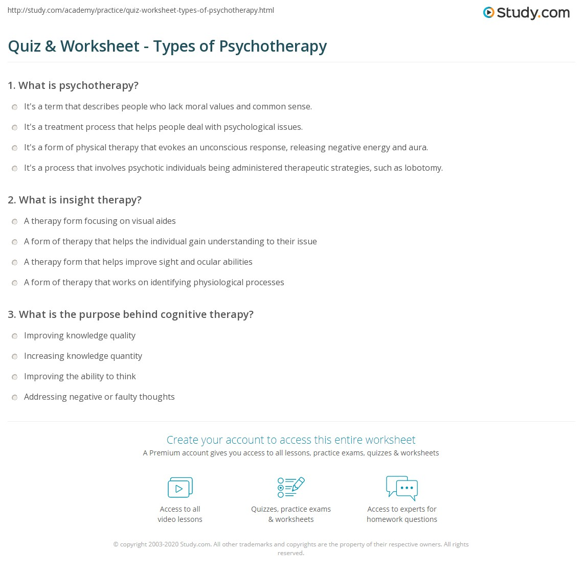 Quiz Worksheet Types of Psychotherapy – Rational Emotive Therapy Worksheet