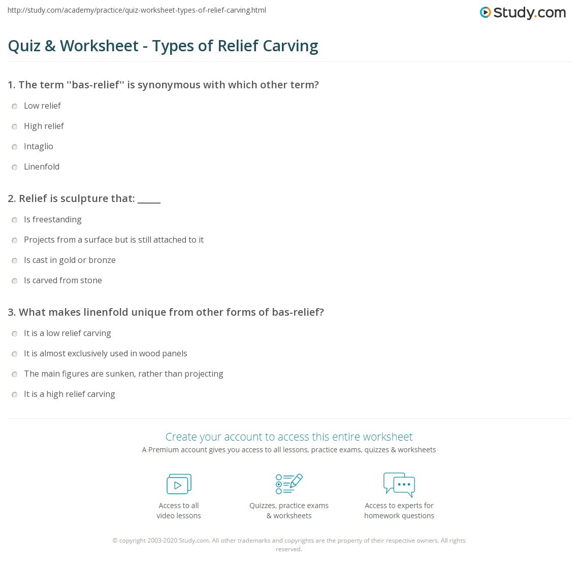Quiz Worksheet Types Of Relief Carving Study