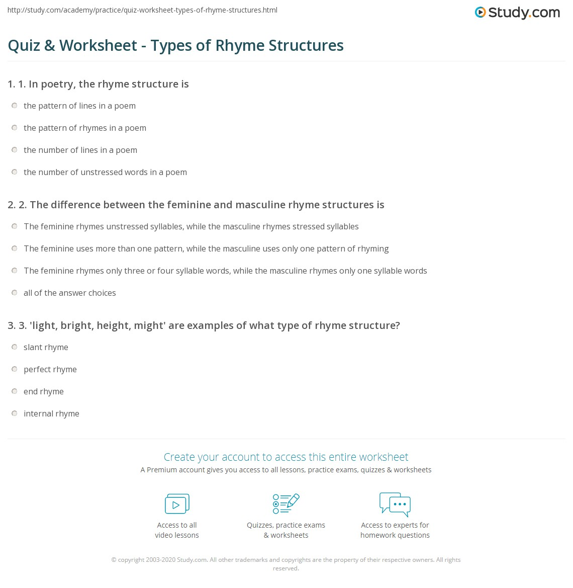 Print Rhyme Structure: Definition U0026 Types Worksheet