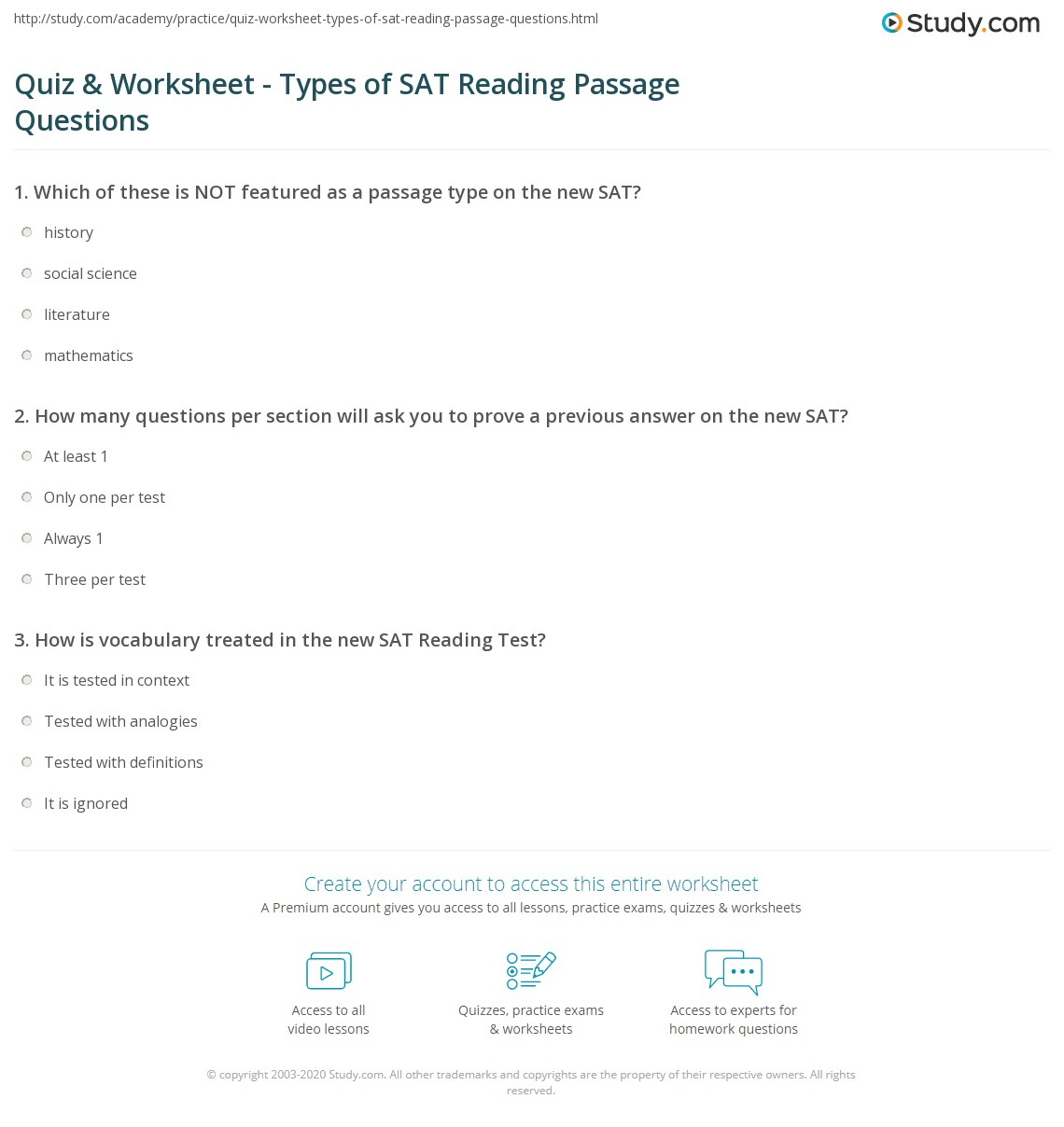 Quiz & Worksheet - Types of SAT Reading Passage Questions