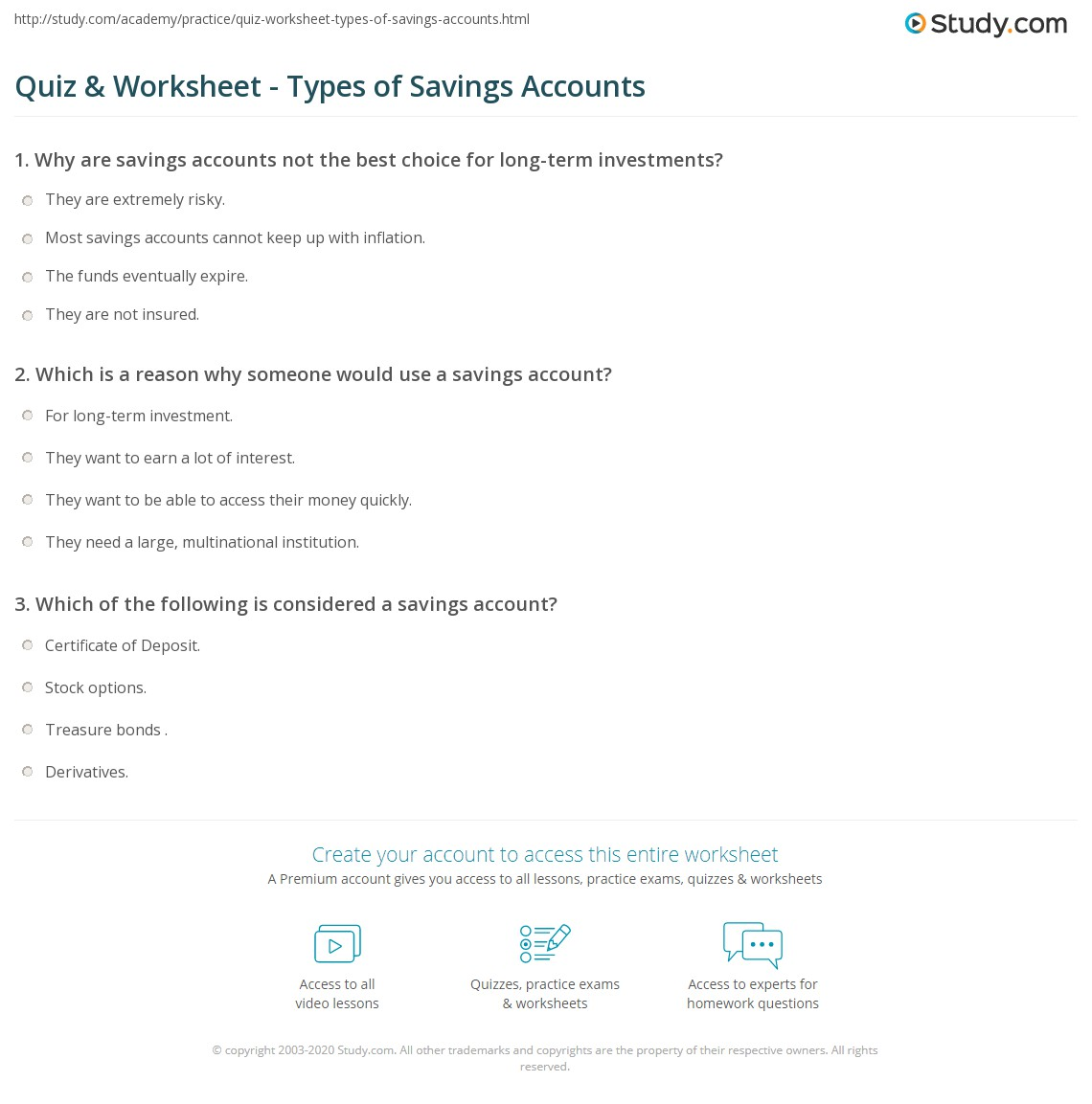 Quiz worksheet types of savings accounts study definition types worksheet 1betcityfo Images