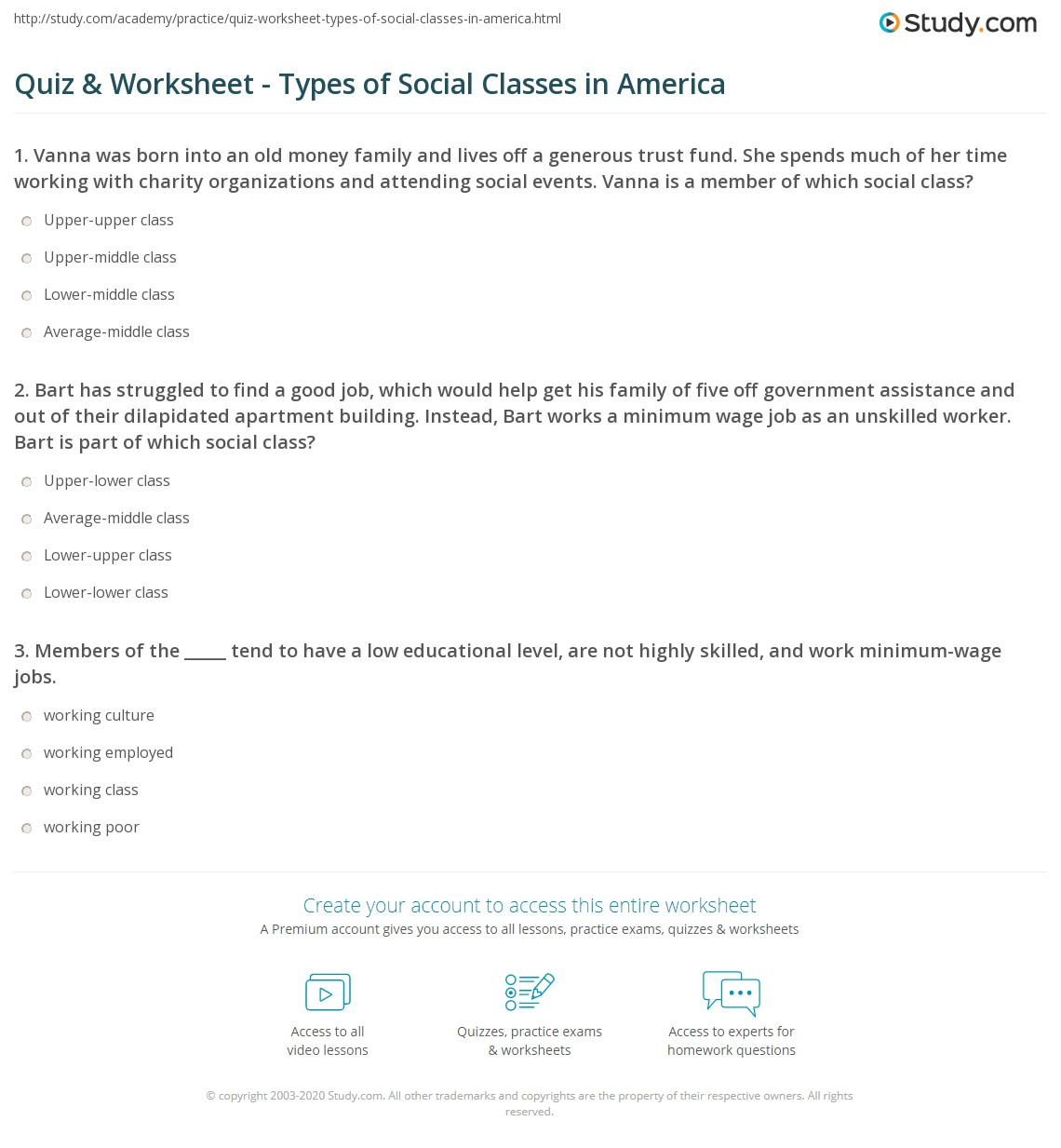 quiz worksheet types of social classes in america study com print american class system and structure definitions types of social classes worksheet