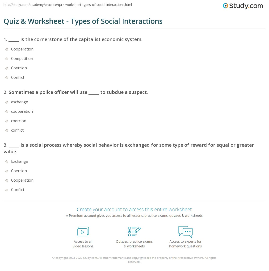 Quiz & Worksheet - Types of Social Interactions | Study.com