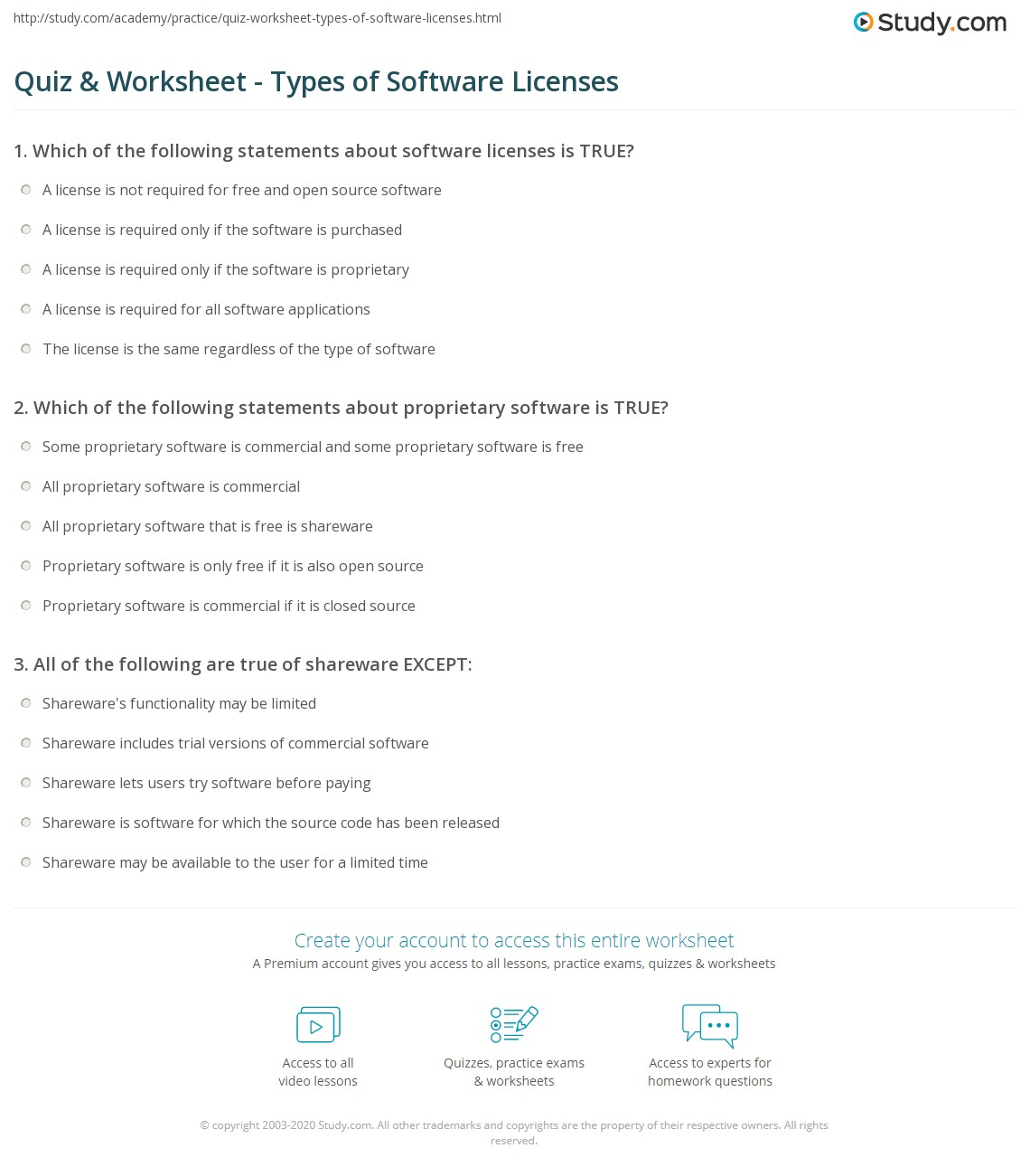 Quiz Worksheet Types Of Software Licenses Study Com