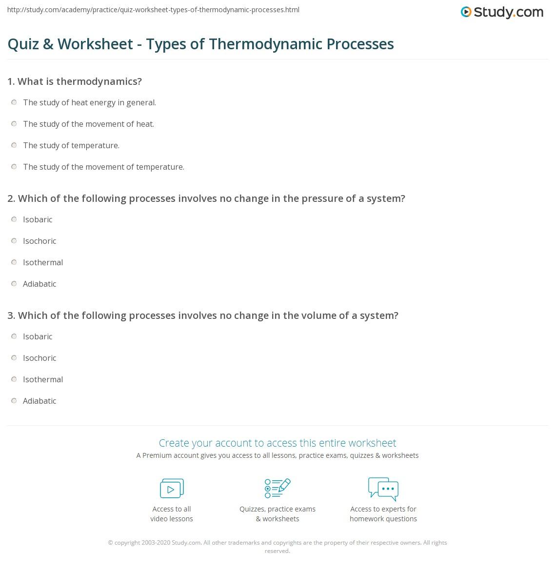 Worksheets Thermodynamics Worksheet Answer Key quiz worksheet types of thermodynamic processes study com print isobaric isochoric isothermal adiabatic worksheet