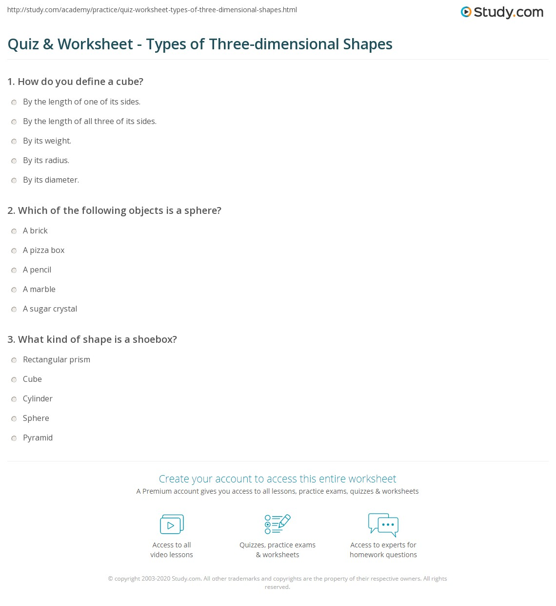 Quiz Worksheet Types Of Three Dimensional Shapes Study