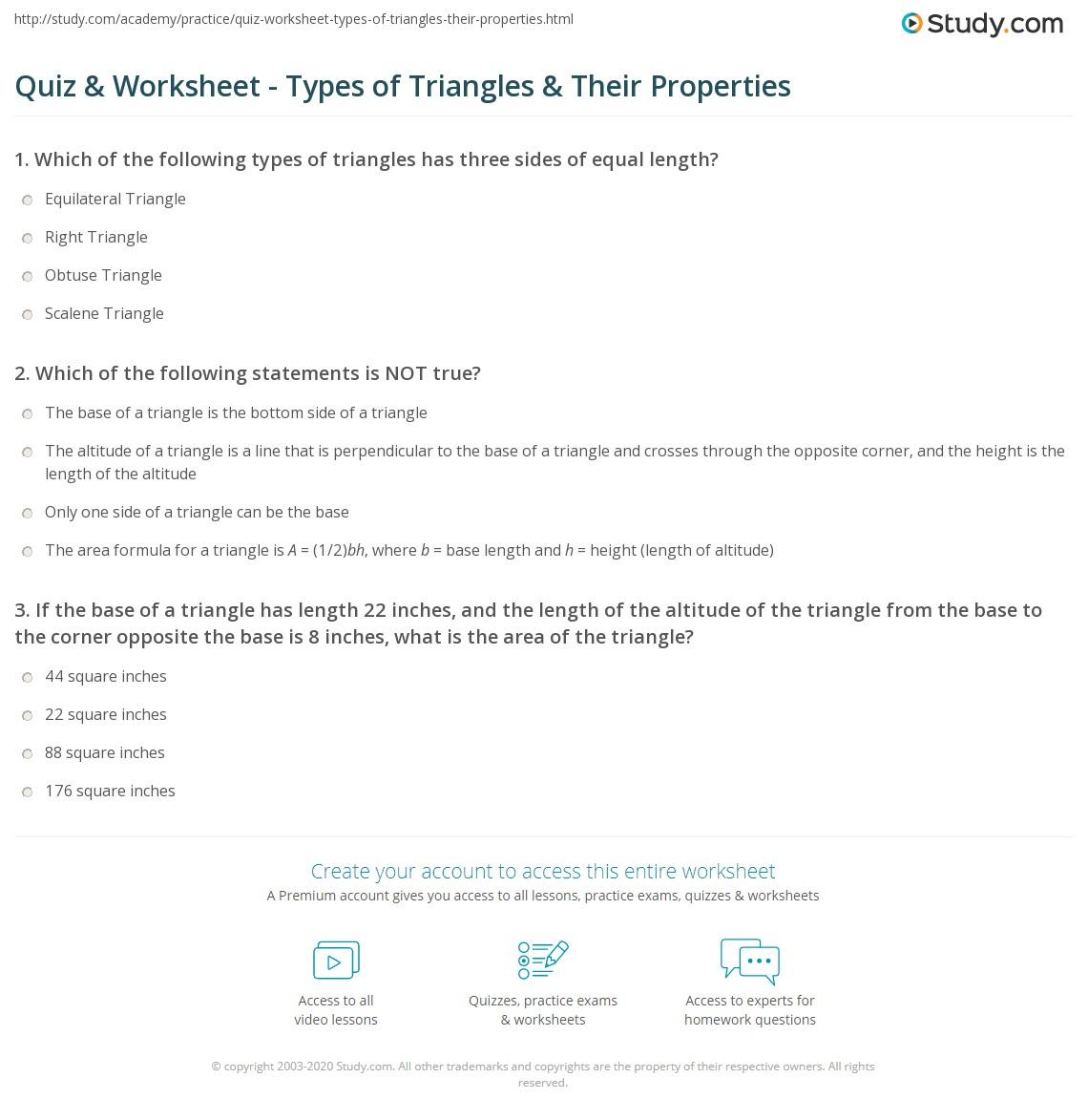 Worksheets Types Of Triangles Worksheet quiz worksheet types of triangles their properties study com print worksheet