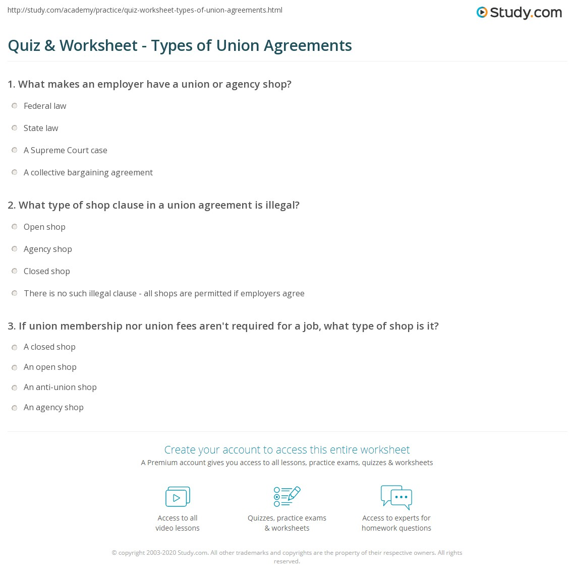 Quiz Worksheet Types Of Union Agreements Study