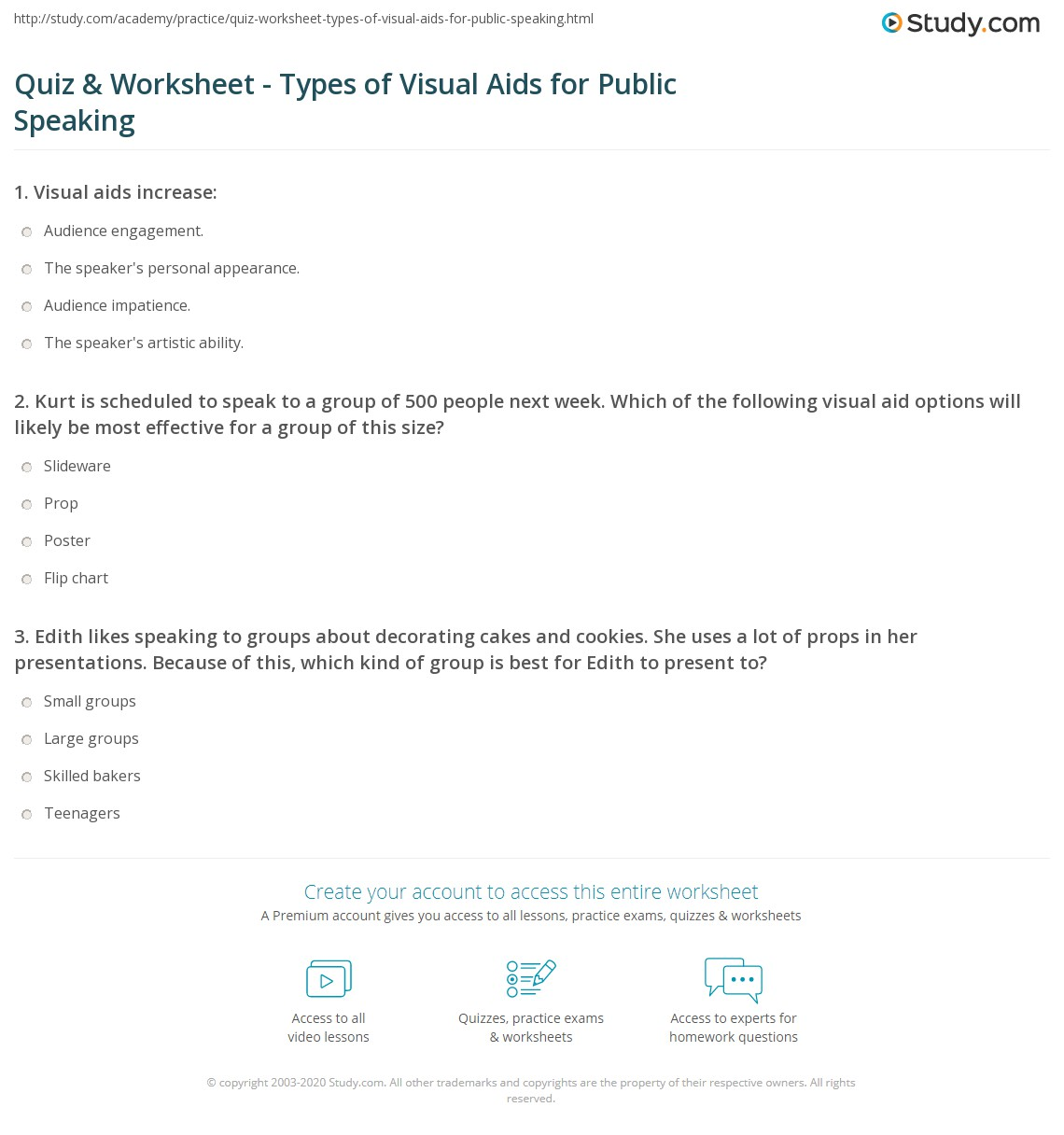 quiz worksheet types of visual aids for public speaking  print types of visual aids used in public speaking worksheet