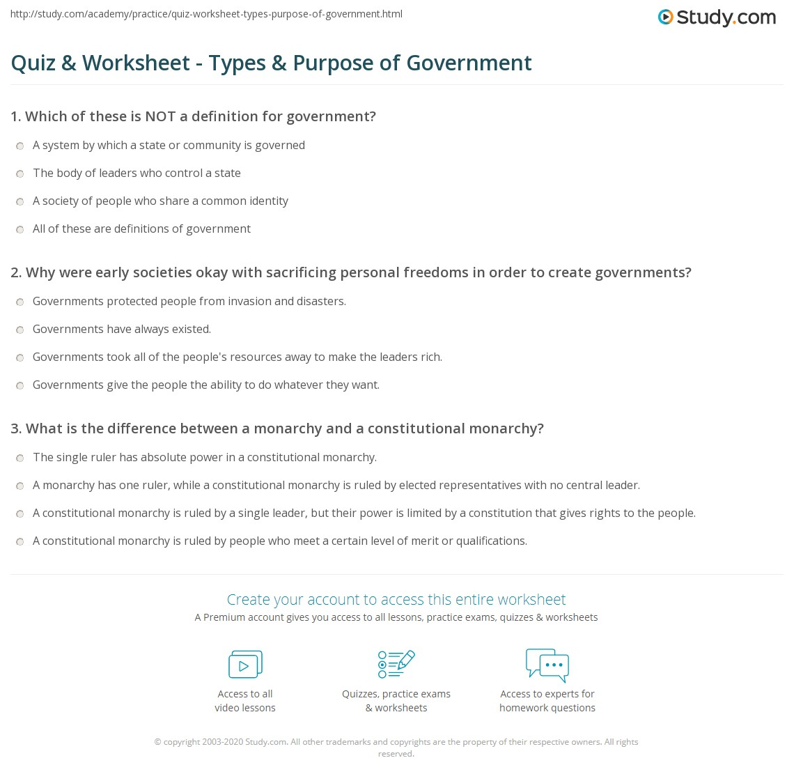 Workbooks types of government worksheets : Quiz & Worksheet - Types & Purpose of Government | Study.com