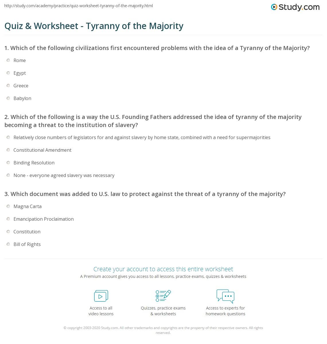 Quiz Worksheet Tyranny Of The Majority Study