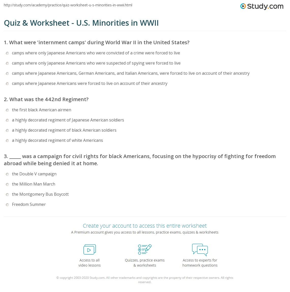 worksheet Civil Rights Worksheets quiz worksheet u s minorities in wwii study com print world war ii treatment civil rights worksheet