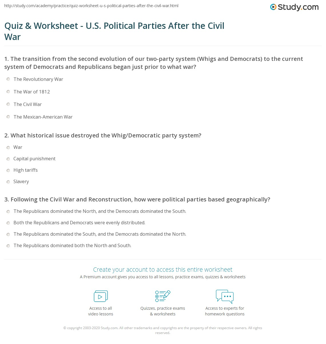 Worksheets Civil War Worksheet quiz worksheet u s political parties after the civil war print history of in united states post worksheet