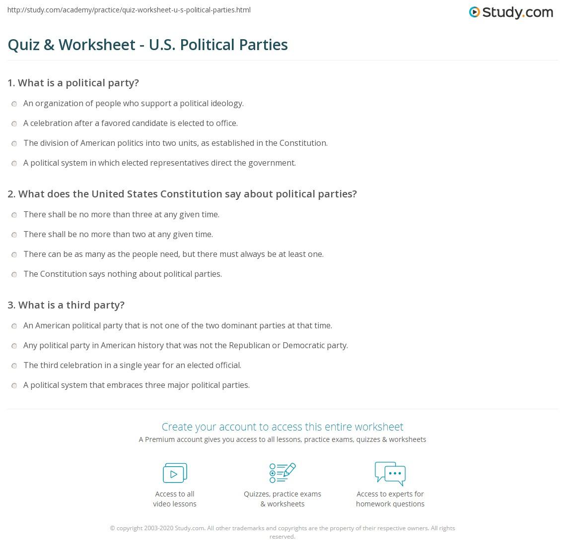 quiz worksheet u s political parties. Black Bedroom Furniture Sets. Home Design Ideas