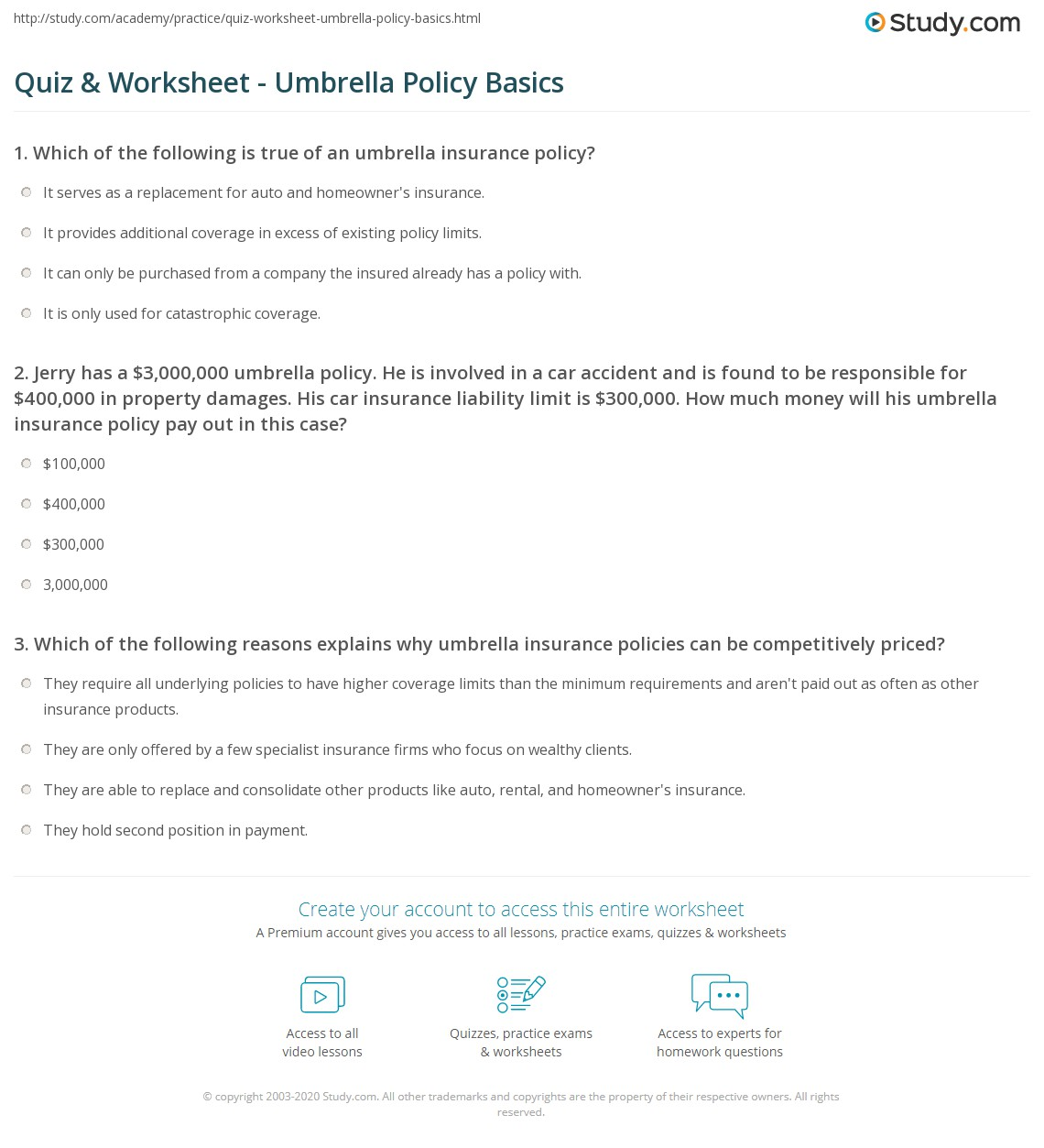 Quiz Worksheet Umbrella Policy Basics Study Com