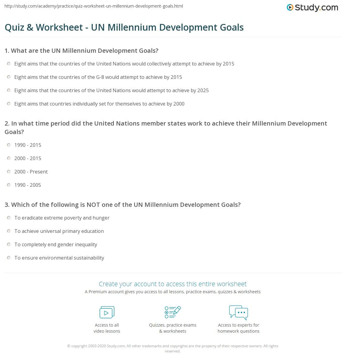 Quiz & Worksheet - UN Millennium Development Goals   Study com