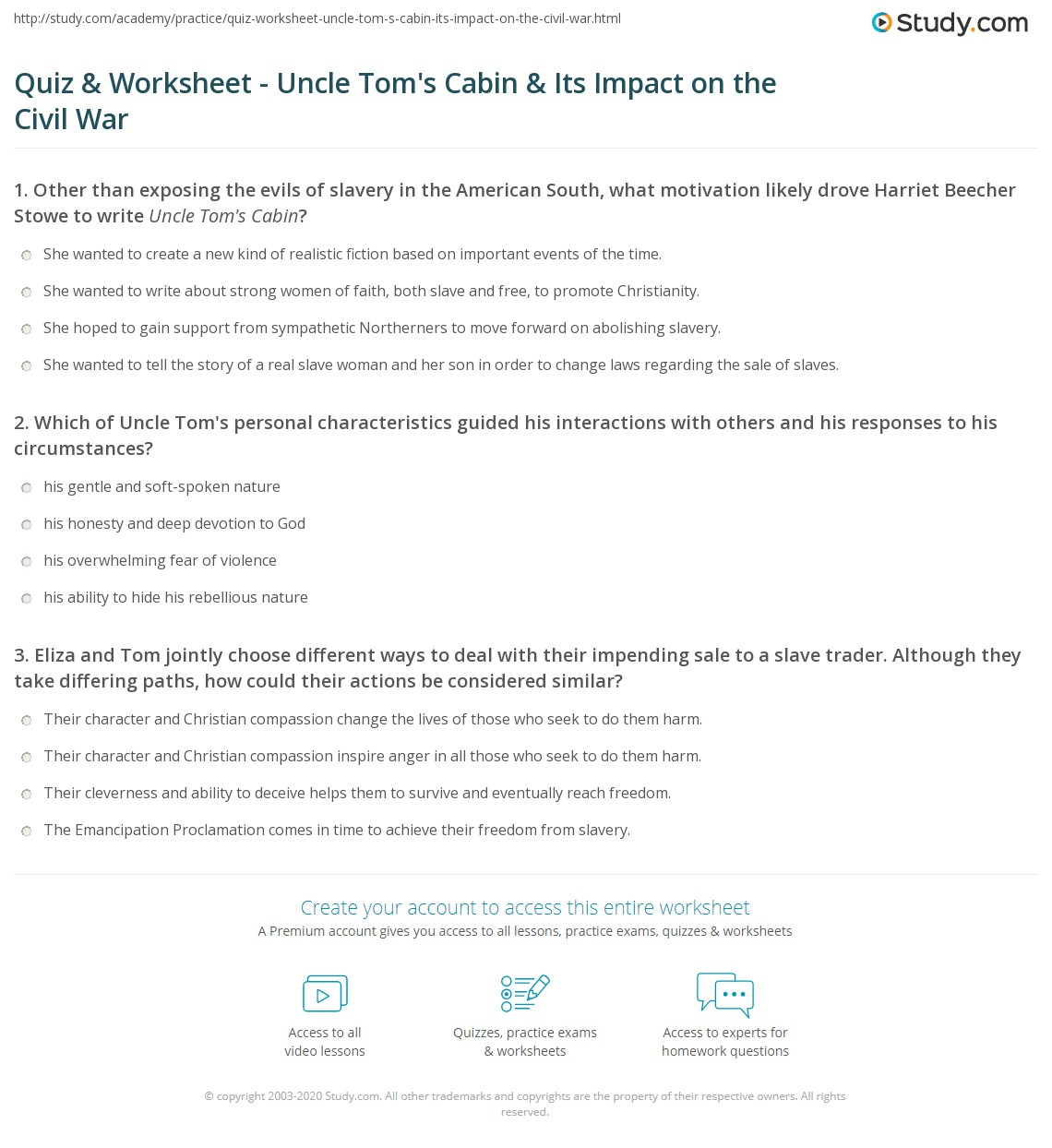 Print Uncle Tomu0027s Cabin And The American Civil War Worksheet