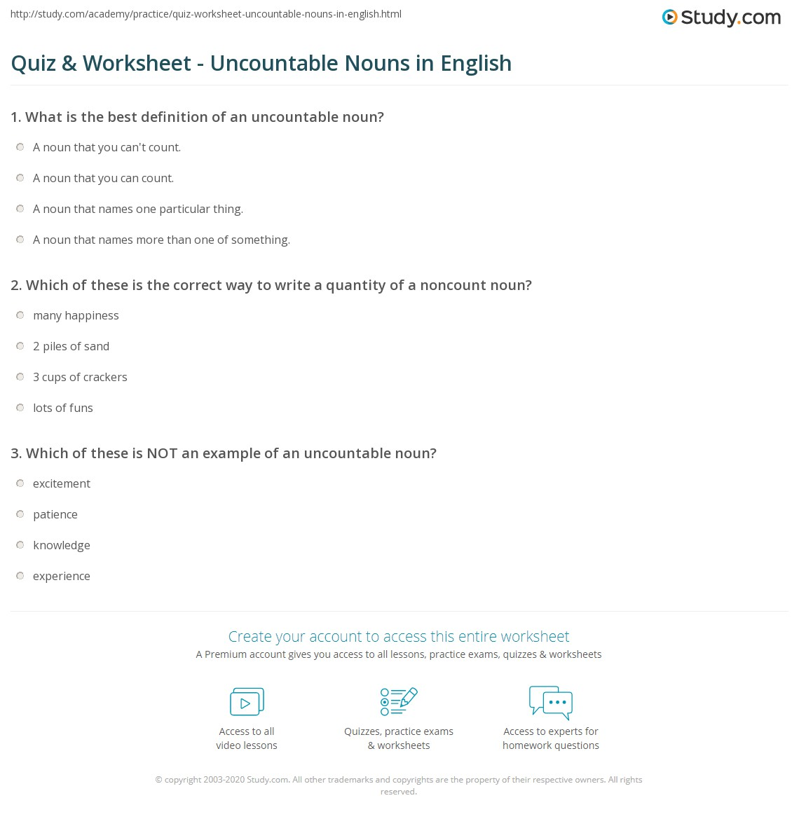 worksheet Count And Noncount Nouns Worksheet quiz worksheet uncountable nouns in english study com which of these is the correct way to write a quantity noncount noun