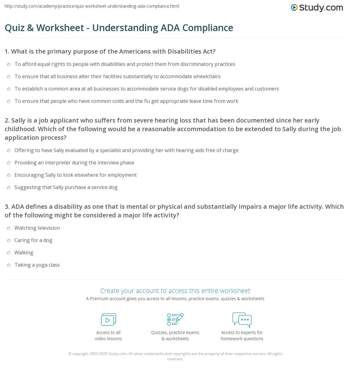 quiz & worksheet - understanding ada compliance | study