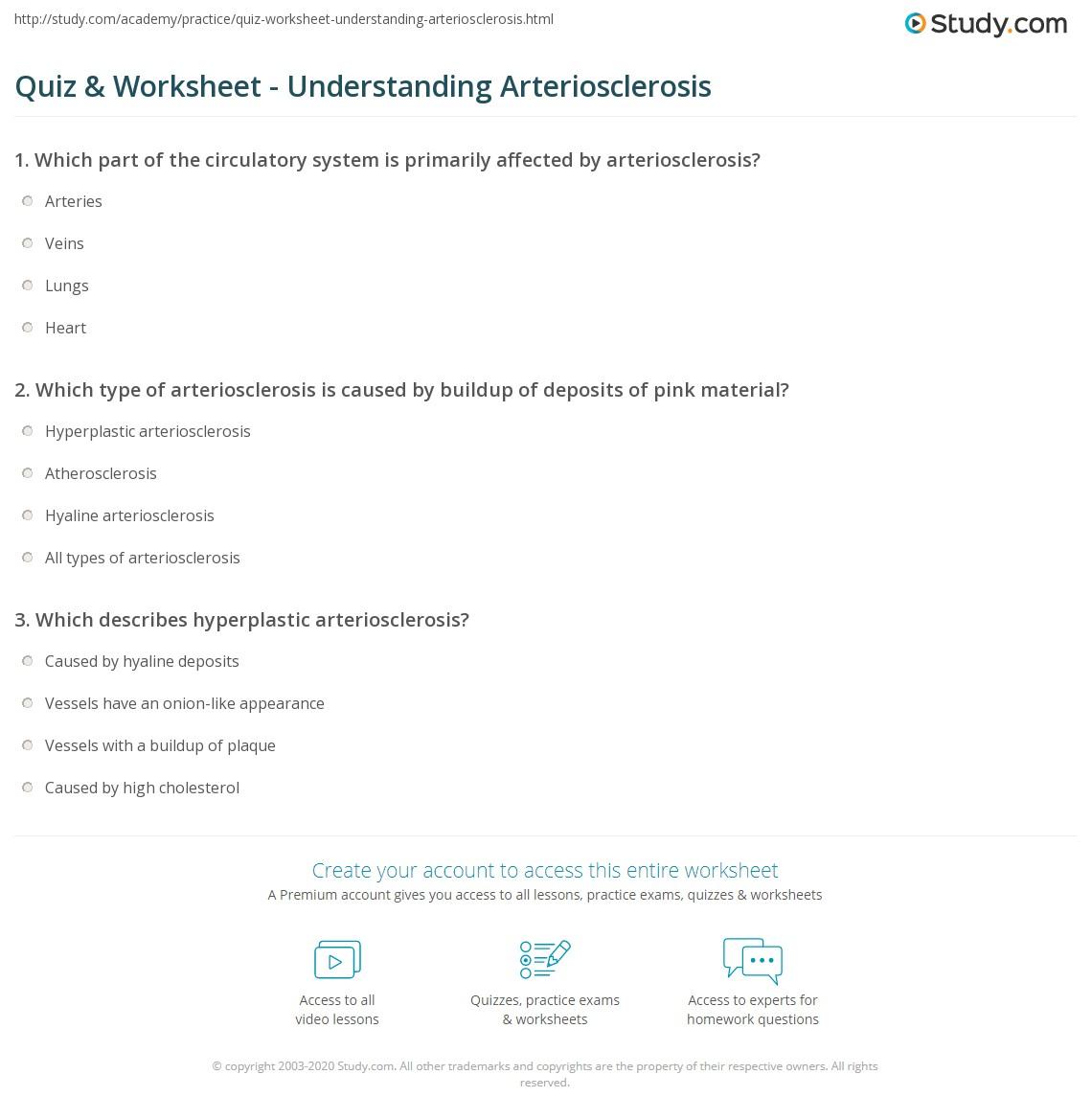 quiz & worksheet - understanding arteriosclerosis | study, Human Body