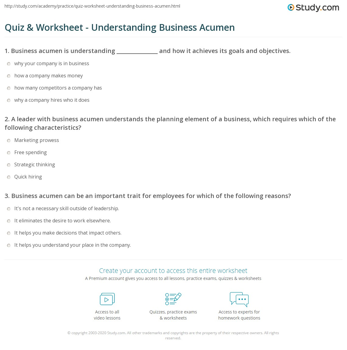 quiz & worksheet - understanding business acumen | study