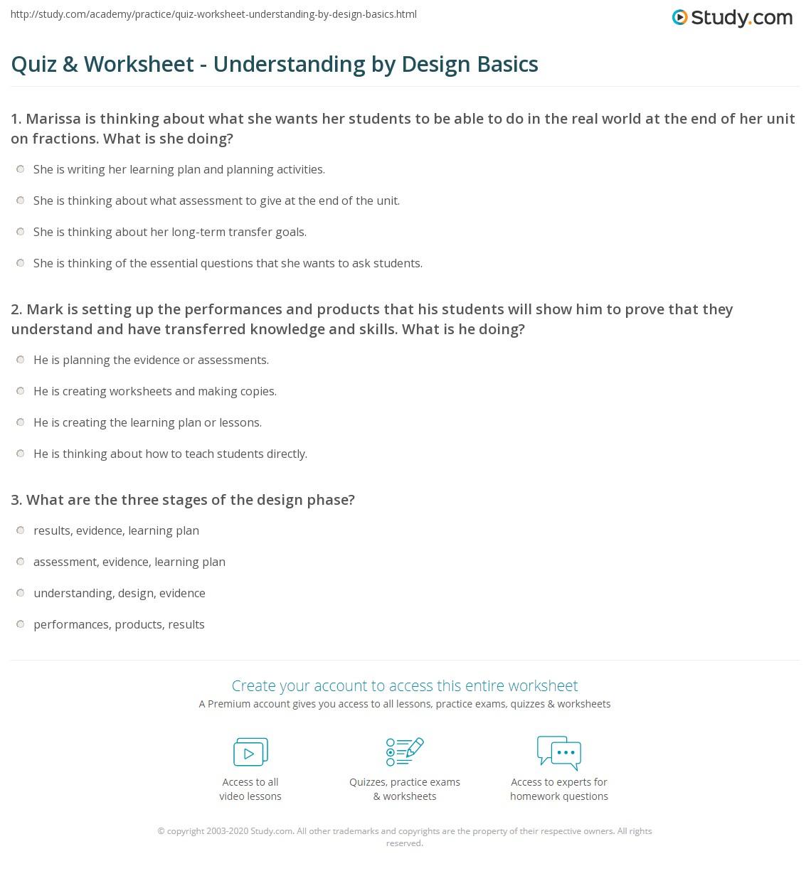 quiz worksheet understanding by design basics. Black Bedroom Furniture Sets. Home Design Ideas