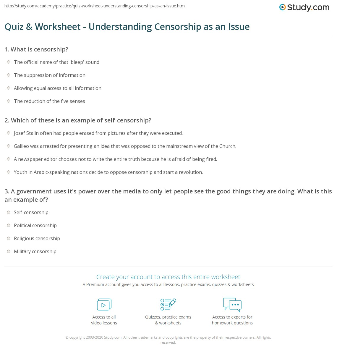 Quiz Worksheet Understanding Censorship As An Issue Study