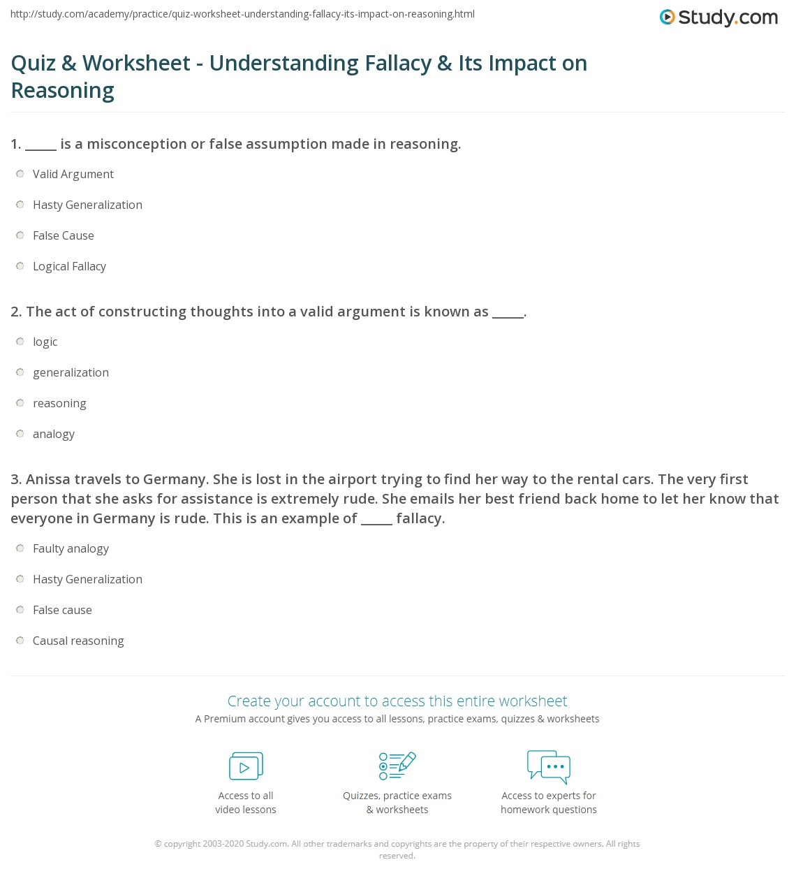Quiz Worksheet Understanding Fallacy Its Impact on Reasoning – Generalization Worksheets
