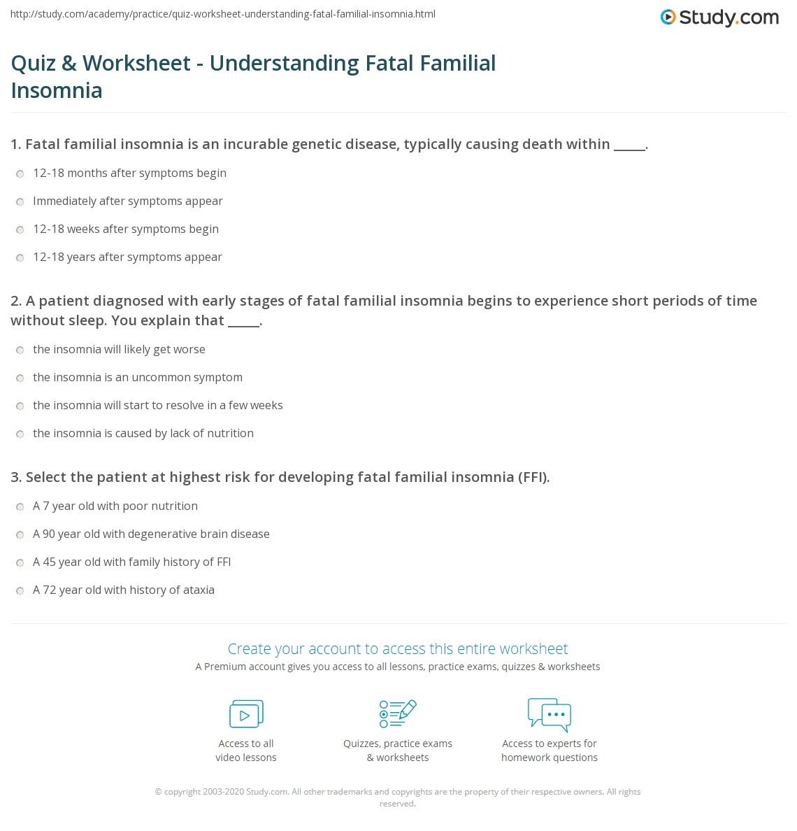 Wonderful Print What Is Fatal Familial Insomnia?   Definition, Stages U0026 History  Worksheet