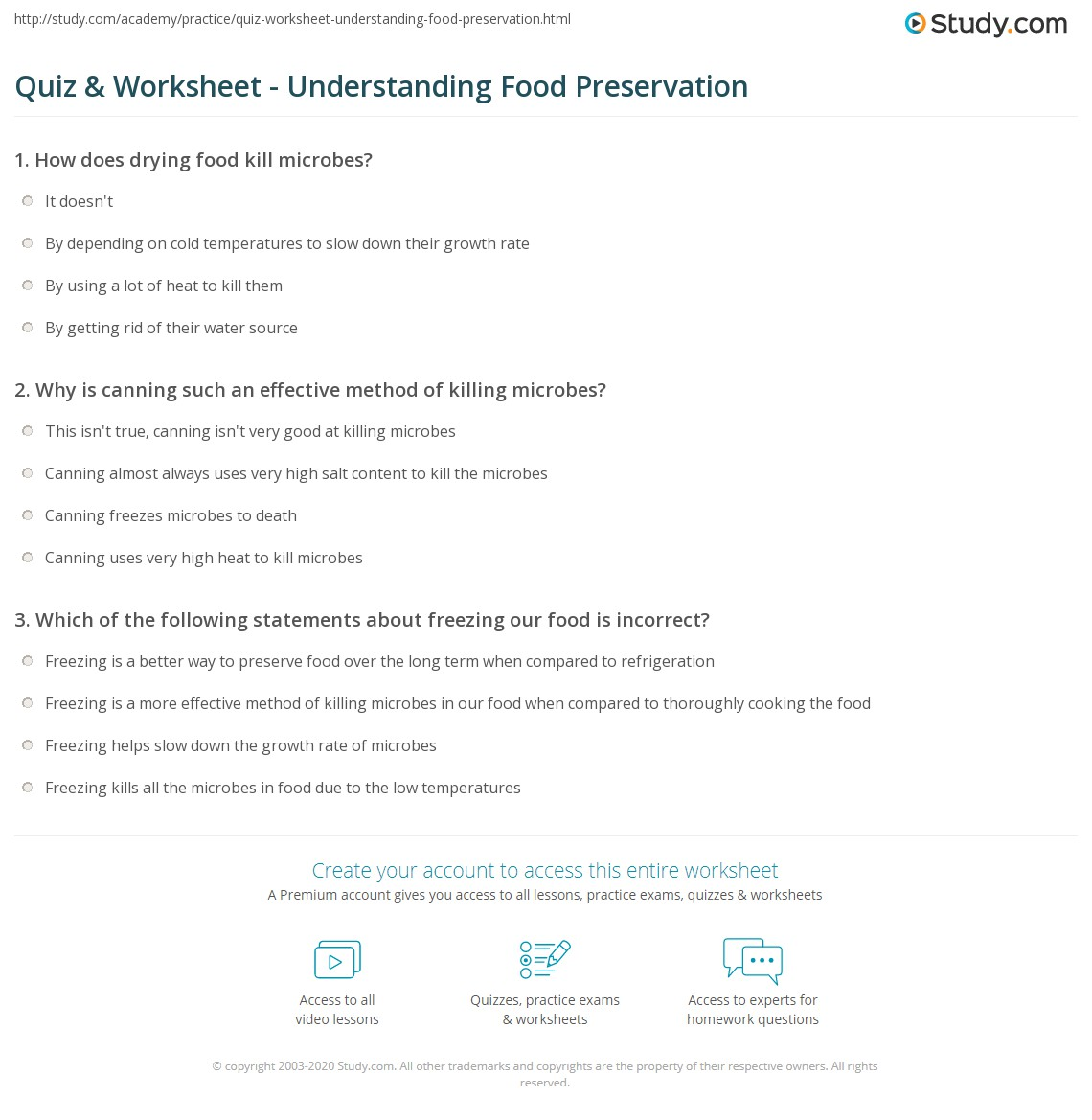 Quiz & Worksheet - Understanding Food Preservation | Study.com