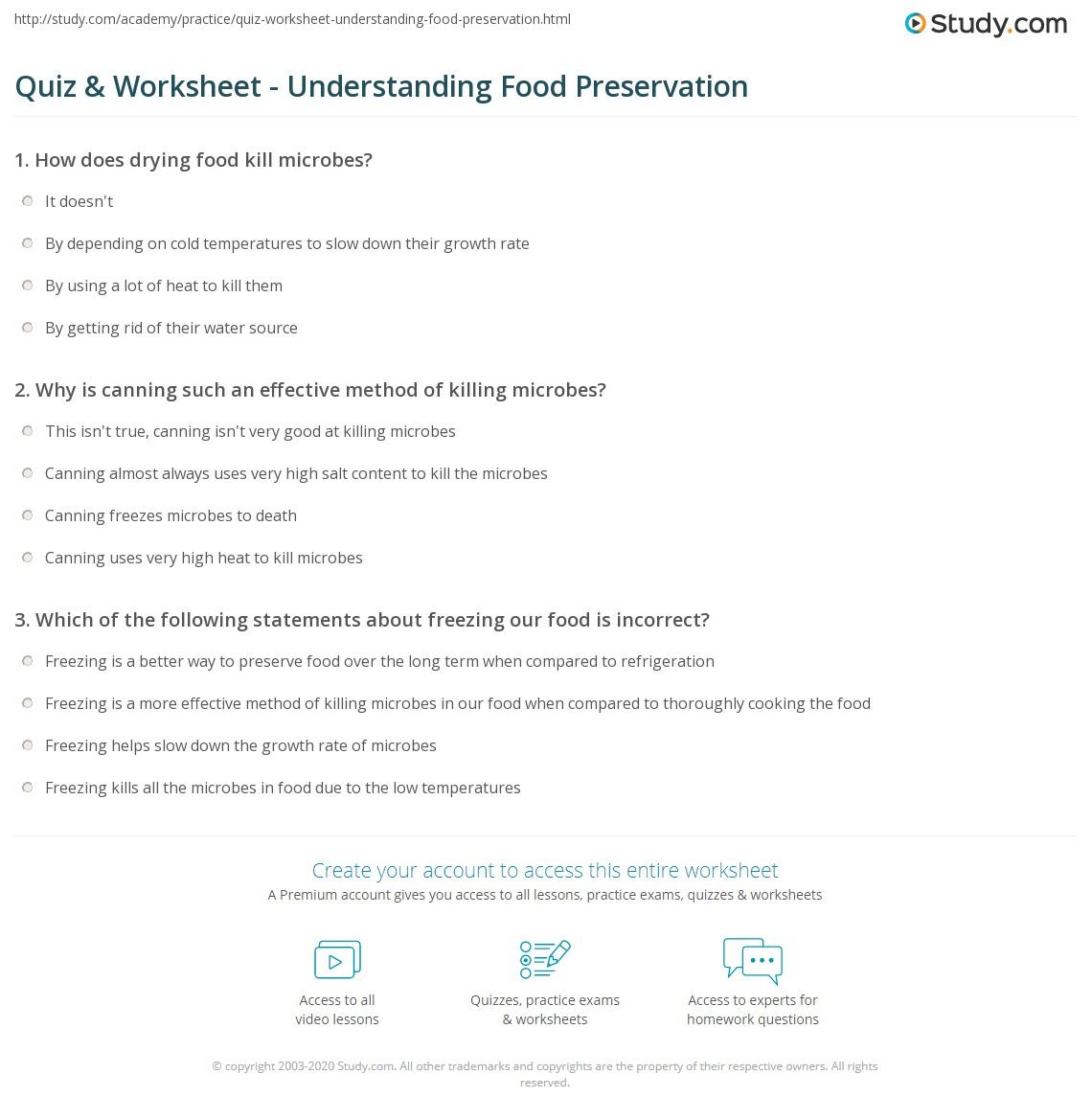 quiz worksheet understanding food preservation. Black Bedroom Furniture Sets. Home Design Ideas
