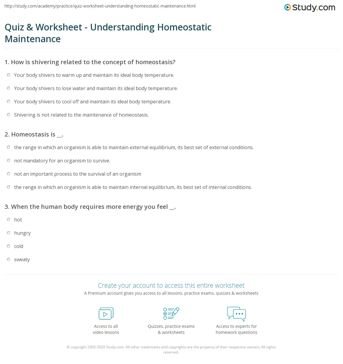 Quiz Worksheet Understanding Homeostatic Maintenance
