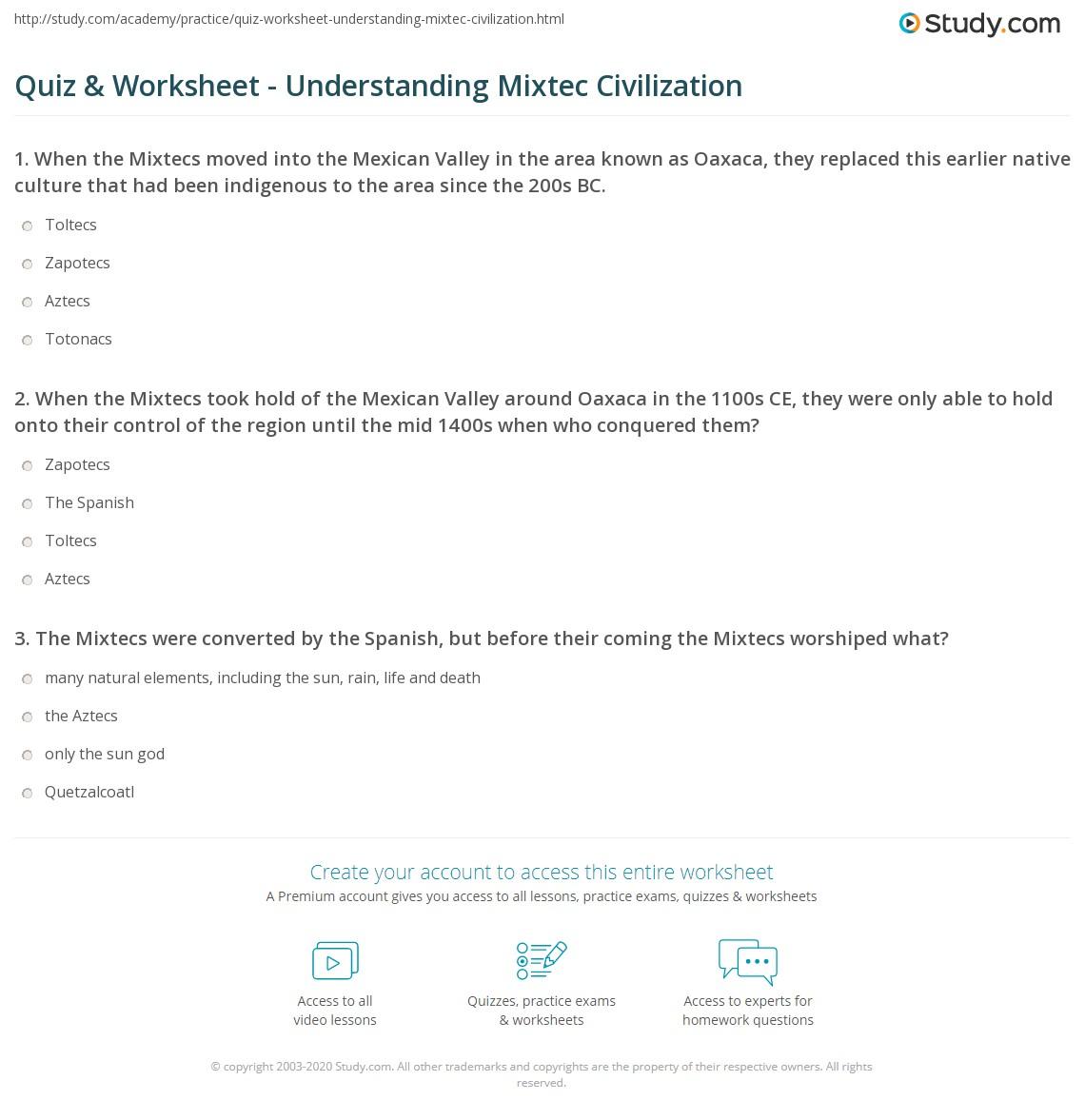 Quiz & Worksheet - Understanding Mixtec Civilization | Study com