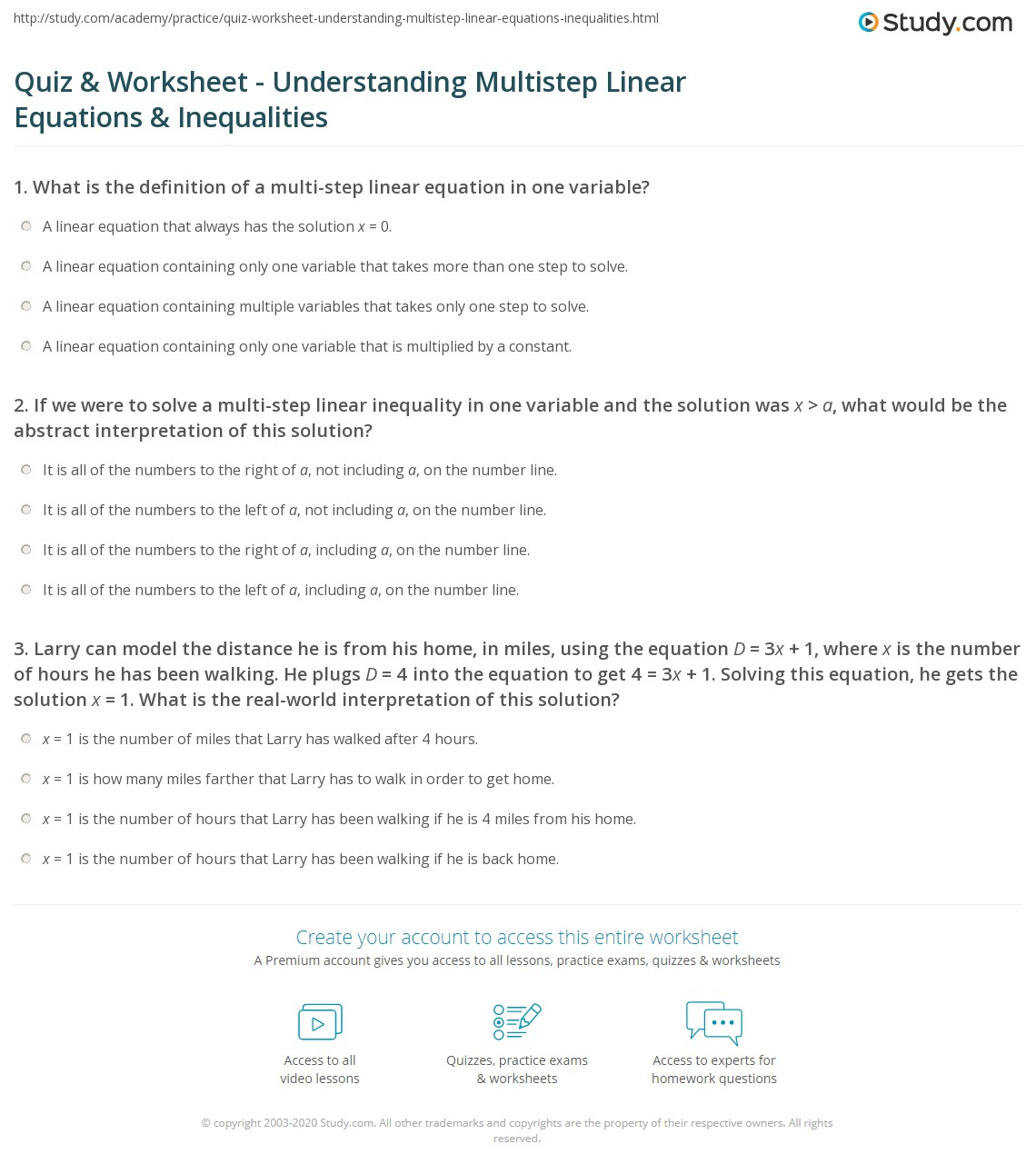 Quiz Worksheet Understanding Multistep Linear Equations