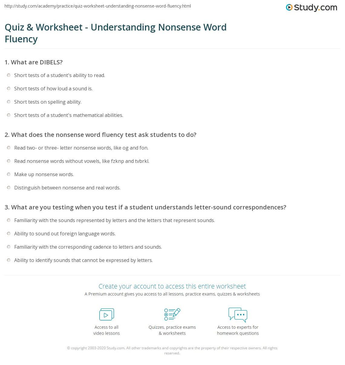 Quiz Worksheet Understanding Nonsense Word Fluency Study